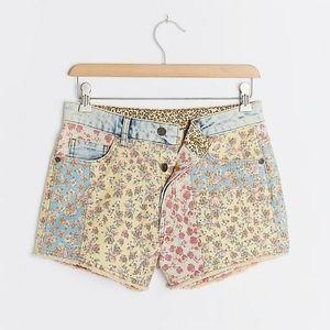 Farm Rio High Rise Floral Patchwork Denim Shorts